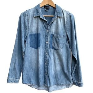 Topshop Chambray Button Down Top Size 6